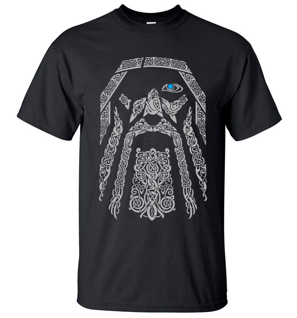 Hot Sale Odin Vikings T-Shirt Men 2019 Summer Round Neck T-Shirts 100% Cotton Men