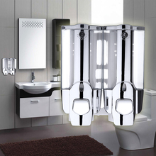 Dual-end 400ml*2 Soap Dispenser Shampoo Holder Container Wall Mounted Bathroom Liquid Soap Dispenser for Bathroom/Hotel