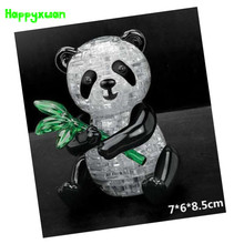 Happyxuan DIY 3D Jigsaw Crystal Puzzle Panda with Leaf Plastic Home Decoration Birthday Gift for Children Educational toys