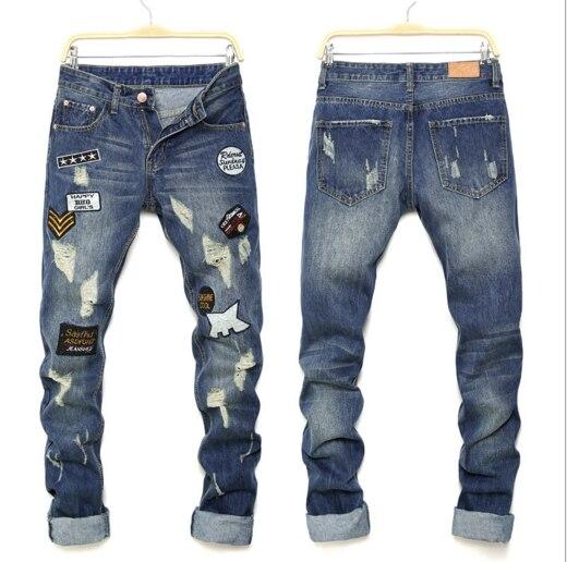 Biker jeans 2016 New Designer Slim Jeans Men High Quality hip hop Ripped Jeans pants Straight Hole Denim Jeans 0J88110Îäåæäà è àêñåññóàðû<br><br>
