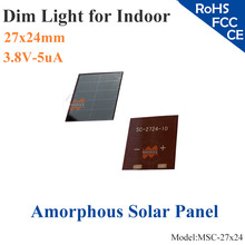 27x24mm 3.8V 5uA dim light Thin Film Amorphous Silicon Solar Cell ITO glass for indoor Product,calculator,toys,0-3.5V battery(China)