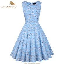 SISHION Swan Print Women Summer Dress 100% Cotton 50s 60s Big Swing Audrey Hepburn Vintage Robe Rockabilly Retro 50s Pinup Dress