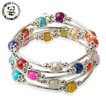 Fashion Wrap Bracelets for Women with Drawbench Acrylic Beads Tibetan Style Bead Caps Brass Tube Beads and Steel Memory Wire(China)