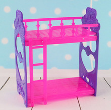 Kid's Play House Toys Doll Accessories DIY Assembly Doll's Plastic Bunk Bed For Kelly dolls Furniture For Barbie Dollhouse