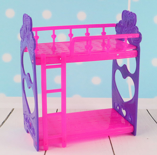 Kid's Play House Toys Doll Accessories DIY Assembly Doll's Plastic Bunk Bed For Kelly dolls Furniture For Barbie Dollhouse(China (Mainland))
