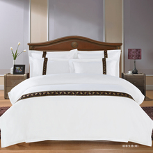 2017 New white 100% Cotton Solid Color Bedding Set 4pcs Queen King Size Bed Linen Ribbon hotel Duvet Cover Flat Sheet Sets