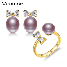 VEAMOR Genuine 18K Yellow Gold Jewelry Set White/Pink/Purple/Black Pearl Bow-Knot Jewelry Sets Wedding Engagement Jewelry(China)
