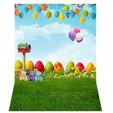 3x5Ft Cute Fresh Grass vinyl Photo background Studio Props Backdrops Easter Egg Air Balloon Cartoon Baby Kids photography(China)