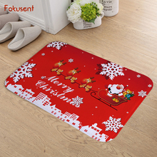 FOKUSENT Cartoon Christmas X MasSanta Claus Christmas Tree Moon Snowman Flannel Doormat New Design Floor Mat Tapete for Bedroom(China)