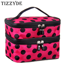 2017 cute dot 2 layer cosmetic bag women travel necessaries high-capacity storage laptop makeup organizer handbags L08(China)