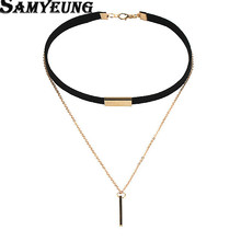 Samyeung Tassel Long Velvet Choker Necklaces For Women Gold Chain Statement Necklaces Collares Neclace Lover Neckless Femme