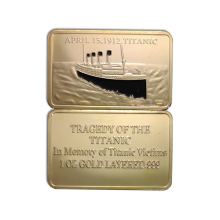 1pcs hot sale The Hottest Sales Item - Titanic White Star Line 1912-2012 Souvenirs Memory 100th Anniversary Of Titanic gold bars