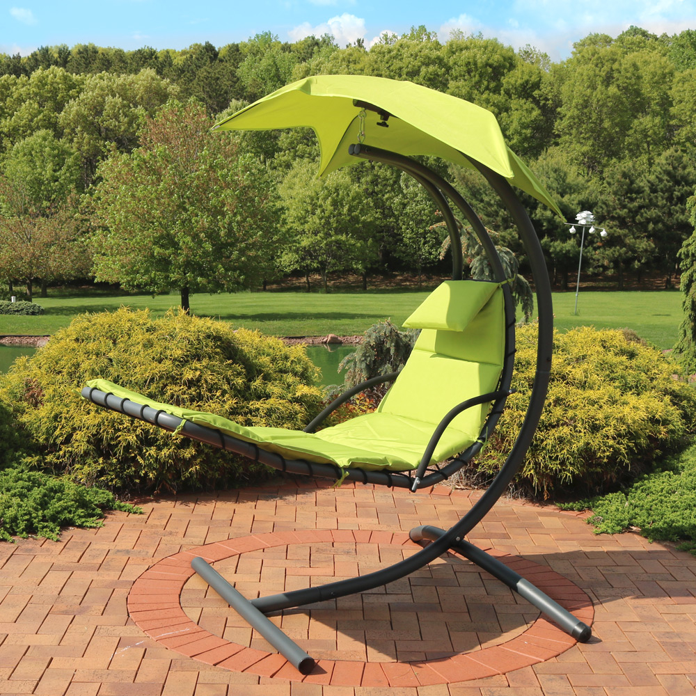 Sunnydaze Floating Chaise Lounger Swing Chair with Canopy, 79 Inch Long, 260 Pound Capacity (4)