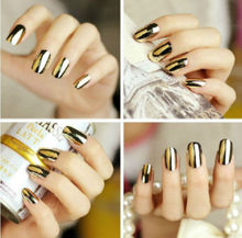 Gold 16pcs Cool Smooth Nail Art Sticker Patch Foils Armour Wraps Decor Nail Care