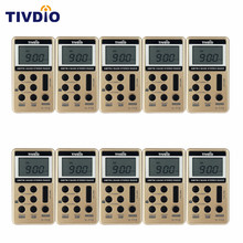 TIVDIO 10 pcs FM/AM 2 Band Mini Radio Pocket Receiver With Rechargeable Battery& Earphone Portable Radio Station F9202(China)
