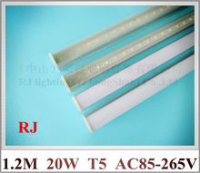 integrated LED tube light lamp T5 SMD 2835 LED fluorescent tube T5 1200mm 1.2M 4 FT 4 feet 20W AC85-265V free shipping