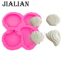 4 Hole Conch shell cooking tools fondant sugar mold silicone mold DIY cake decoration tools handmade soap mold T0547(China)