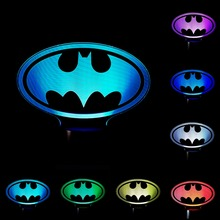 3D LED Night Light Custom made Batman sign Special shape 7 Color change Dimming Kid Bedroom USB touch sensor Table Lamp IY803716(China)