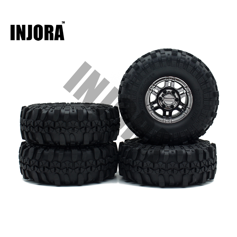 1:10 RC Rock Crawler 1.9 Inch Rubber Tires &amp; Electroplating Plastic Beadlock Wheel Rim for Axial SCX10 RC4WD  D90 D110<br>