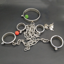 Buy Sex Slave bdsm sex tools sale stainless steel bondage set(handcuffs+legcuffs+steel collar)fetish adult sex toys couples