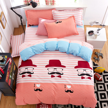 Home A:Black Moustache B:Pink And White Stripes Sided Printed Bedding Sets Super King Size Bed Sheet Duvet Cover Set Pillowcases