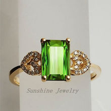 Solid 14k yellow gold natural green tourmaline & . jewelry Free shipping