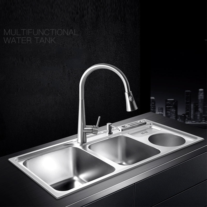 Multifunctional Kitchen Sink Stainless Steel Brushed Double Bowl Drawing Drainer Hot And Cold Water Faucet Free