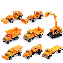 8pcs/lot 1:64Engineering vehicles Alloy Cars Toy Car Excavator Truck Tractor Roller Piledriver Bulldozer Crane Toys for Children
