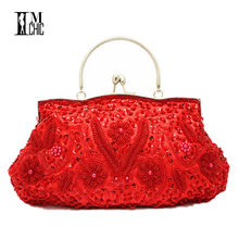 Women Clutch Bags Beads Evening Exquisite Ladies Beaded Embroidered Wedding Party Bridal Handbag Wristlet bolsos Small 3393(China)
