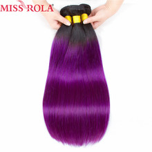 Miss Rola Hair Pre-Colored Ombre Brazilian Straight hair bundles Wave #1B Purple hair Non Remy Weave Human Hair Extension(China)