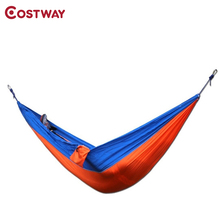 COSTWAY Outdoor Portable Two-person Parachute Hammock Travel Camping Sleeping Hamaca Garden Furniture 275x140cm W0144(China)