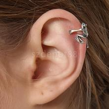 High Quality 925 Sterling Silver Frog Cuff Ear Clip Ear Wrap Earring Women Men Punk Gothic Jewelry Gift