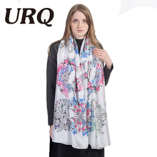 soft bright no smell foulard silk Scarf for Women print flower Chinese style Flower Shawls hijab Sping summer 2017 new brand