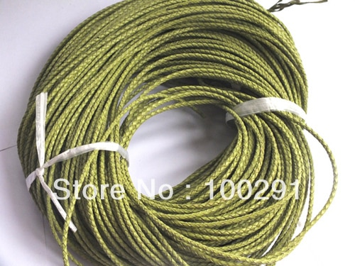 grass green ) 3MM THE BRAID LEATHER CORDS MULTI COLORS  100m/lot