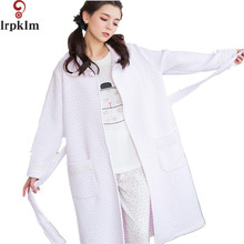 Winter Robe Bathrobe For Women Casual Long Sleeve Bath Robe Sleepwear Waffle Robe Pink White Gray Sashes Home Wear SY364(China)