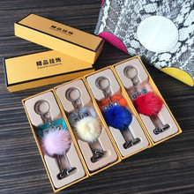 Robot Pendant Mink Fur Finger Key Chain Accessories Small Monster Hairball Jewelry Bag Mobile Phone Pendant for women's fashion