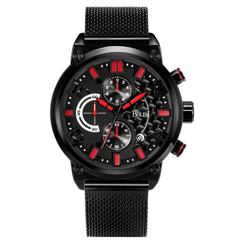 BOLISI  Mens  Quartz Wrist Watches With Black Stainless Steel Watch Strap Red Needle<br>