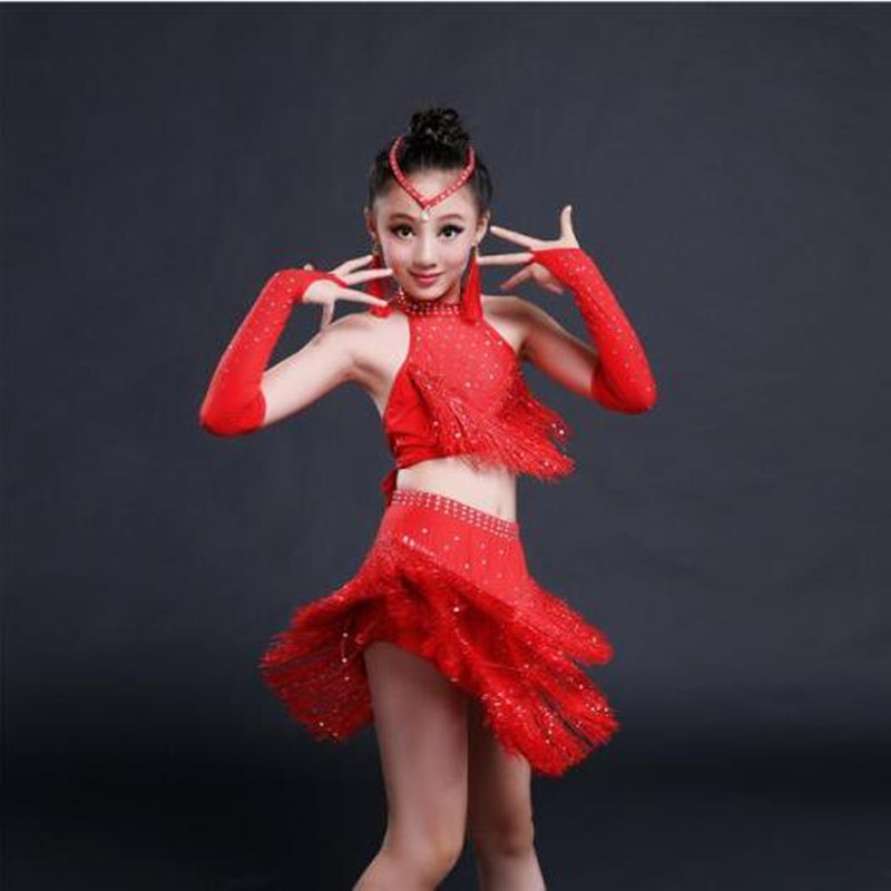 Brand New Fashion Romantic Children Latin Dance Skirt Set Gorgeous Rhinestone Paillette Tassel Girls Performance Clothing<br>