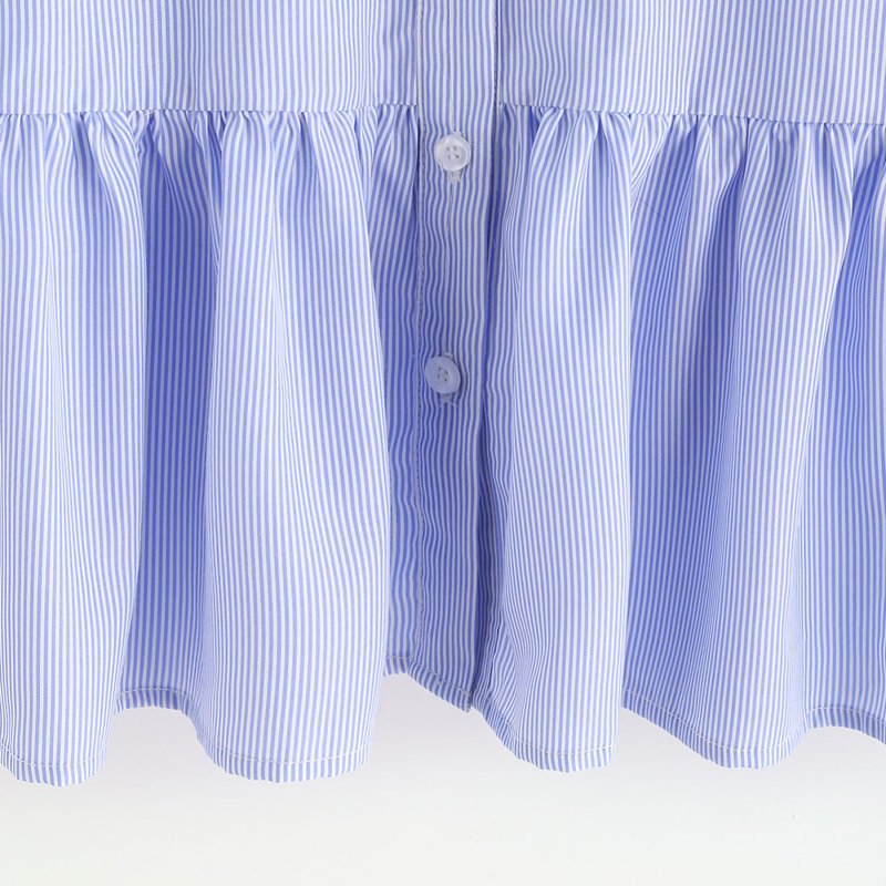 Blue Striped Bow Tie Split Back Blouse Women 2017 Summer Sleeveless Ruffles Blouses Shirts Women Vintage Tops Blusas Female 3