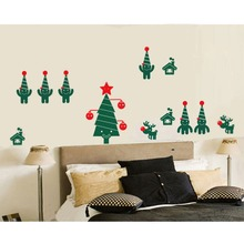 New Arrived Merry Christmas Wall Decals Home Living Room Decor Vinyl Wall Mural Chriatmas Tree Art Design Wall Mural D-138