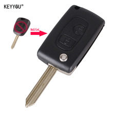 KEYYOU Modified Folding Flip Remote Key Shell 2 Buttons For Citroen C1 C2 C3 Saxo /Xsara /Picasso /Berlingo With Logo