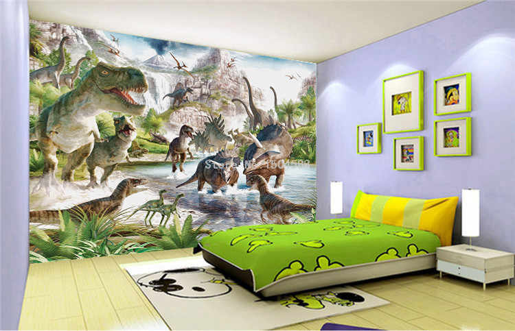 HTB1IUIqRFXXXXbKXFXXq6xXFXXXX - 3D Wall Mural Wallpaper Custom Any Size Cartoon Children Wallpaper 3D Stereo Dinosaur World Backdrop Wall Decor Papel De Parede