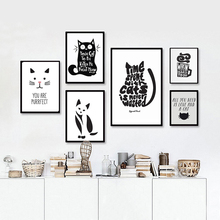 Cat Quotes Canvas Printings Black and White Animals Posters Prints Nordic Wall Art Pictures for Living Room Home Decor No frame(China)
