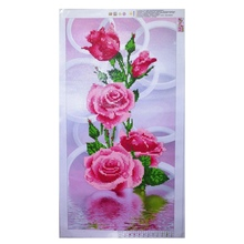 5D Needlework Diy Diamond Painting Cross Stitch Pink Rose Diamond Embroidery Flower Vertical Print round Drill Home Decor  New