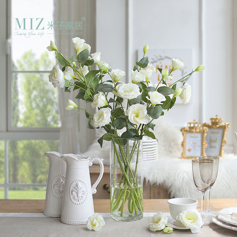Miz Home 5 Pieces 1 Bud Eustoma Flower Wedding Bud Flower for Bride Home Decor Artificial Flower Silk Flower No Vase(China)