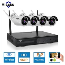 Hiseeu Wireless CCTV System 4CH 960P waterproof IP camera outdoor wifi Home Security System Surveillance Kit P2P 1.3MP wi-fi(China)