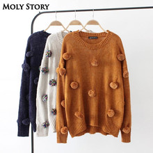 New Autumn Cute Pom Pom Sweaters Women O Neck Casual Loose Knitted Sweater Tops Outwear Pull Femme Jumper(China)