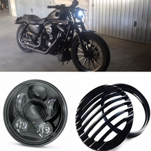 "5-3/4 5.75 Inch Daymaker Projector LED Headlight 5 3/4"" Headlight Grill Cover for Harley Sportster XL 883 1200 Headlight 5 3/4"""
