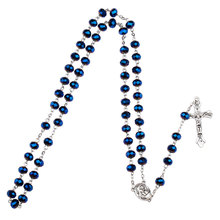 NingXiang Dark Blue Glass Bead Catholic Rosary Necklace Religious Father Beads Holy Soil Inside Centerpiece Maxi Strand Necklace