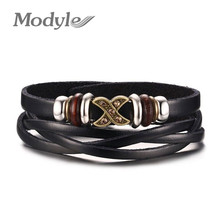 Modyle Pure Handmade Genuine Leather Bracelets Brand Fashion Punk Alloy Cross Bracelets & Bangle for Women Men Jewelry Accessory(China)